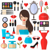 Beauty, Cosmetic and Makeup Vector flat Icons Stock Photos