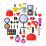 Beauty, Cosmetic and Makeup Vector flat Icons Stock Images