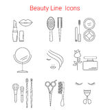 Beauty, Cosmetic and Makeup Vector line icons. Stock Photography