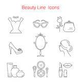 Beauty, Cosmetic and Makeup Vector line icons Royalty Free Stock Photos