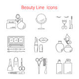Beauty, Cosmetic and Makeup Vector line icons Royalty Free Stock Photography