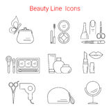Beauty, Cosmetic and Makeup Vector line icons Royalty Free Stock Images
