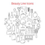 Beauty, Cosmetic and Makeup Vector Line Icons Stock Image