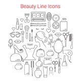 Beauty, Cosmetic and Makeup Vector Line Icons Stock Photos