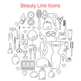 Beauty, Cosmetic and Makeup Vector Line Icons Stock Photo