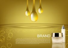 Beauty cosmetic set with gold drops vector cosmetic ads.  royalty free illustration