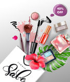 Beauty and cosmetics background. Summer sale Concept. Use for advertising flyer, banner, leaflet. Vector. Stock Image