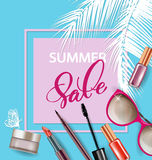 Beauty and cosmetics background. Summer sale Concept. Use for advertising flyer, banner, leaflet. Vector. Stock Photos