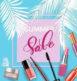 Beauty and cosmetics background. Summer sale Concept. Use for advertising flyer, banner, leaflet. Vector. Stock Photography