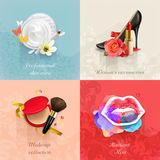 Beauty and cosmetics backgrounds. Set with beauty and cosmetics, concepts vector backgrounds Stock Photography