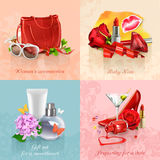 Beauty and cosmetics backgrounds. Set with beauty and cosmetics set of concepts vector backgrounds Royalty Free Stock Images