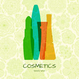 Beauty cosmetics concept on abstract background with flowers Stock Image
