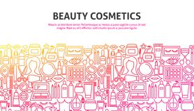 Beauty Cosmetics Concept. Vector Illustration of Line Web Design. Banner Template Royalty Free Stock Image