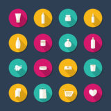 Beauty and cosmetics flat vector icons. Royalty Free Stock Photos