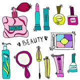 Beauty and cosmetics icons doodles. Beauty and cosmetics icons vector doodles on a white background Royalty Free Stock Photography