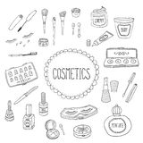 Beauty and cosmetics icons doodles Stock Photos