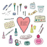 Beauty and cosmetics icons doodles. Beauty and cosmetics icons vector doodles on a white background Royalty Free Stock Photo