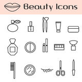 Beauty cosmetics line vector icon set. Royalty Free Stock Photos