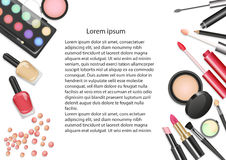 Beauty cosmetics Makeup with cosmetic tools. Colorful cosmetics background, brushes and other essentials. Stock Photography