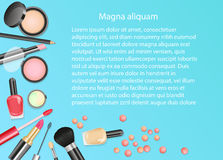 Beauty cosmetics Makeup with cosmetic tools. Colorful cosmetics background, brushes and other essentials. Royalty Free Stock Photography