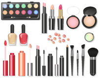 Beauty cosmetics Makeup with cosmetic tools. Colorful cosmetics background, brushes and other essentials. Royalty Free Stock Photo