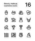Beauty, cosmetics, makeup icons for web and mobile design pack 3 Stock Photography