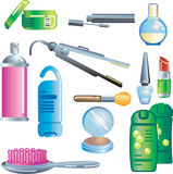 Beauty and Cosmetics Products. Set of beauty and cosmetics products illustration Stock Photo