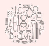 Beauty and cosmetics thin line outline icons set Stock Images