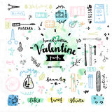 Beauty cosmetics Valentines day vector graphics. Hand drawn decoration elements with valentine's day love lettering of female beauty products, cute makeup Royalty Free Stock Photos