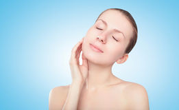 Beauty, cosmetology and health skin concept - woman enjoying pure fresh skin Stock Photo