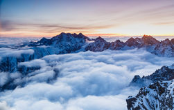 Beauty covered with clouds at Rysy in Tatras Stock Images