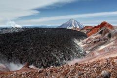 Beauty crater active Avachinsky Volcano on Kamchatka Peninsula Stock Image