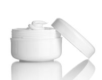 Beauty cream container. Close up of  beauty cream container on white background with clipping path Royalty Free Stock Images