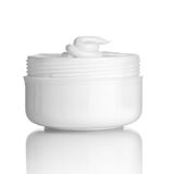 Beauty cream container. Close up of  beauty cream container on white background with clipping path Stock Photos