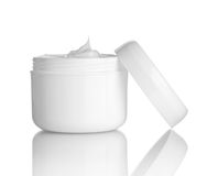 Beauty cream container. Close up of  beauty cream container on white background with clipping path Stock Photo