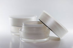 Beauty cream packaging containers white color Royalty Free Stock Images