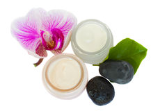 Beauty creams  with orchid and spa stones. Beauty cream with orchid and zen stones isolated on white background Royalty Free Stock Photo