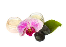 Beauty creams  with spa set Royalty Free Stock Photography