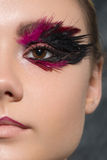 Beauty creative makeup with feathers on eyes. Beauty creative makeup with feathers Stock Image