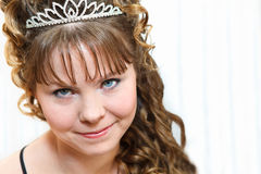 Beauty with crown on a nead Stock Photos