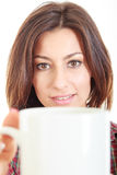 Beauty with cup of coffee or tea in big mug Royalty Free Stock Images