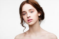 Beauty cute fashion model with natural make up. On white background royalty free stock photo