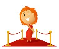 Beauty cute girl in red dress prepare get award Stock Images