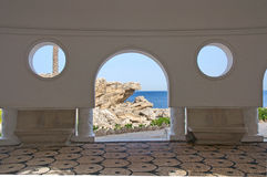 Beauty of cycles and arcs of a Mediterranean villa royalty free stock image