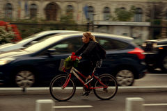 The beauty of cycling. Bucharest Royalty Free Stock Images