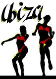 Beauty dance women one. Girls in a bikini dance at disco party Royalty Free Stock Images
