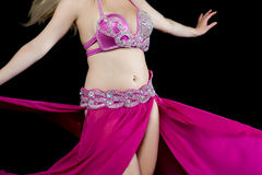 Beauty dancer posing in traditional pink costume Royalty Free Stock Photos
