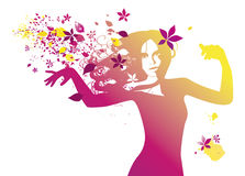 Beauty dancing. Woman dancing with flowers and leaves in her long hair royalty free illustration
