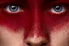 Beauty dark red makeup on face of female model Stock Photos