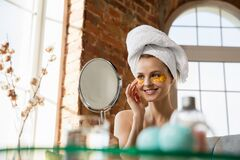 Beauty Day. Woman doing her daily skincare routine at home